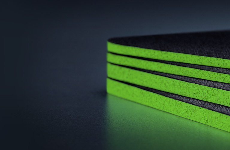 THICK, HIGH-DENSITY RUBBER FOAM WITH ANTI-SLIP BASE